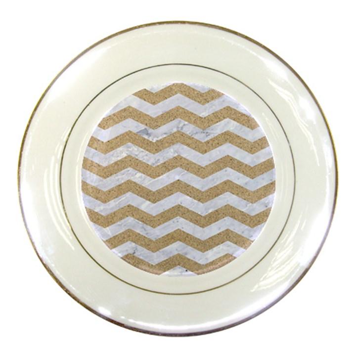 CHEVRON3 WHITE MARBLE & SAND Porcelain Plates