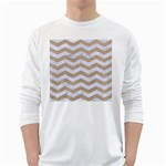 CHEVRON3 WHITE MARBLE & SAND White Long Sleeve T-Shirts Front