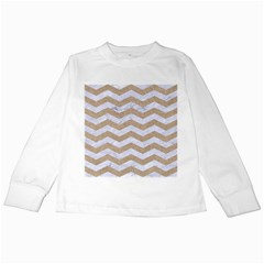 Chevron3 White Marble & Sand Kids Long Sleeve T Shirts