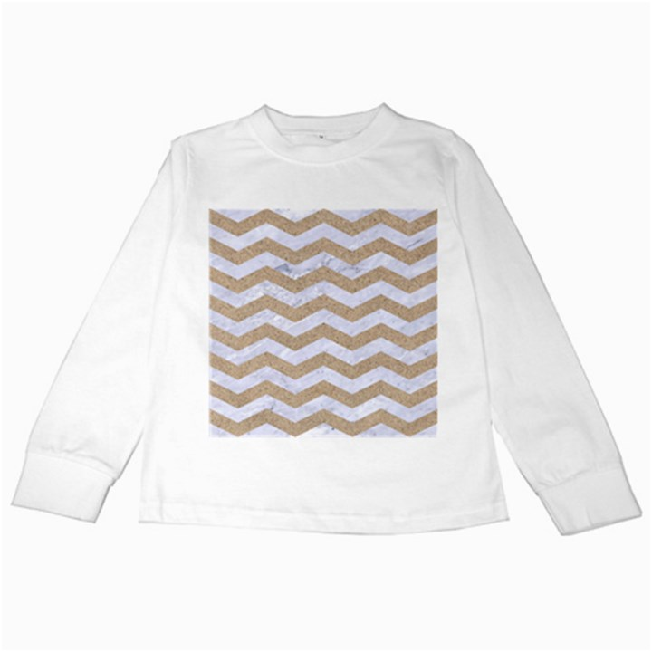 CHEVRON3 WHITE MARBLE & SAND Kids Long Sleeve T-Shirts