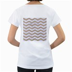 CHEVRON3 WHITE MARBLE & SAND Women s Loose-Fit T-Shirt (White) Back