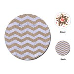 CHEVRON3 WHITE MARBLE & SAND Playing Cards (Round)  Front