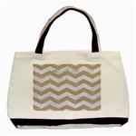 CHEVRON3 WHITE MARBLE & SAND Basic Tote Bag Front