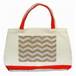 CHEVRON3 WHITE MARBLE & SAND Classic Tote Bag (Red) Front
