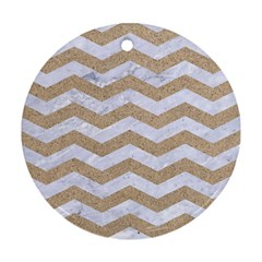 Chevron3 White Marble & Sand Round Ornament (two Sides)