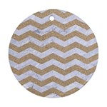 CHEVRON3 WHITE MARBLE & SAND Round Ornament (Two Sides) Back