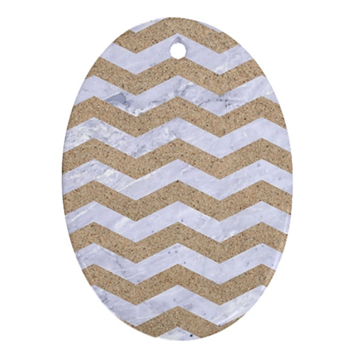 CHEVRON3 WHITE MARBLE & SAND Oval Ornament (Two Sides)