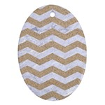 CHEVRON3 WHITE MARBLE & SAND Oval Ornament (Two Sides) Back
