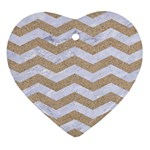 CHEVRON3 WHITE MARBLE & SAND Heart Ornament (Two Sides) Back
