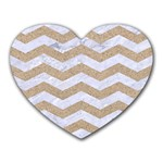 CHEVRON3 WHITE MARBLE & SAND Heart Mousepads Front