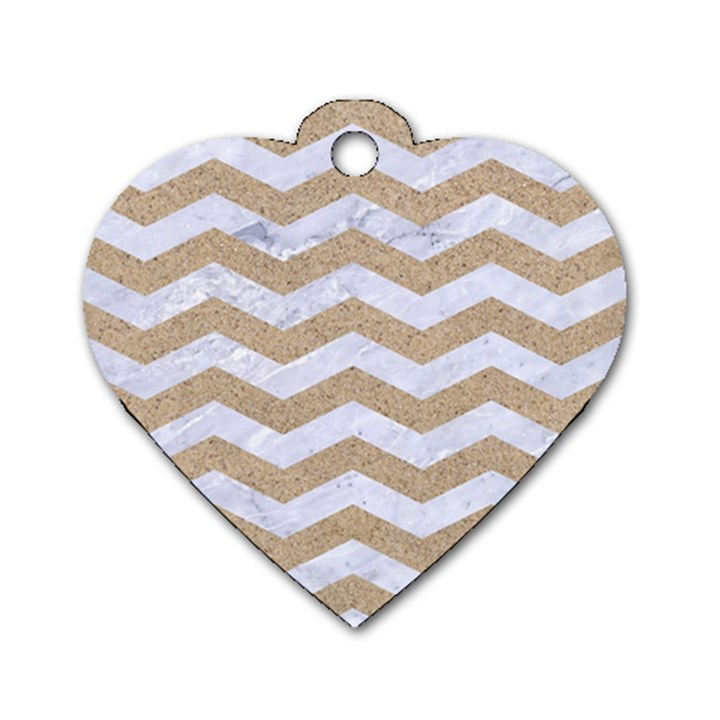 CHEVRON3 WHITE MARBLE & SAND Dog Tag Heart (One Side)