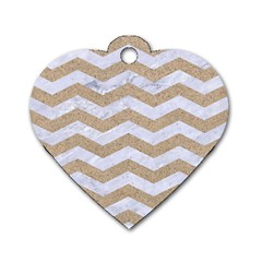 Chevron3 White Marble & Sand Dog Tag Heart (two Sides)