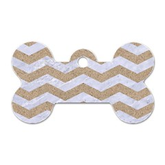Chevron3 White Marble & Sand Dog Tag Bone (one Side)