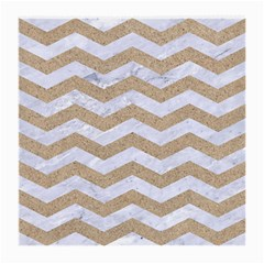Chevron3 White Marble & Sand Medium Glasses Cloth