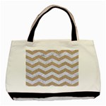 CHEVRON3 WHITE MARBLE & SAND Basic Tote Bag (Two Sides) Front