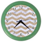 CHEVRON3 WHITE MARBLE & SAND Color Wall Clocks Front