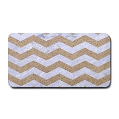 Chevron3 White Marble & Sand Medium Bar Mats
