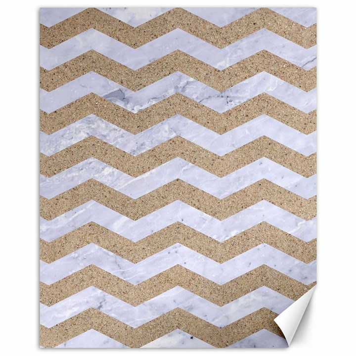 CHEVRON3 WHITE MARBLE & SAND Canvas 11  x 14