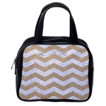 CHEVRON3 WHITE MARBLE & SAND Classic Handbags (One Side) Front