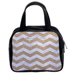 CHEVRON3 WHITE MARBLE & SAND Classic Handbags (2 Sides) Front