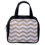 CHEVRON3 WHITE MARBLE & SAND Classic Handbags (2 Sides) Back