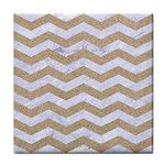 CHEVRON3 WHITE MARBLE & SAND Face Towel Front