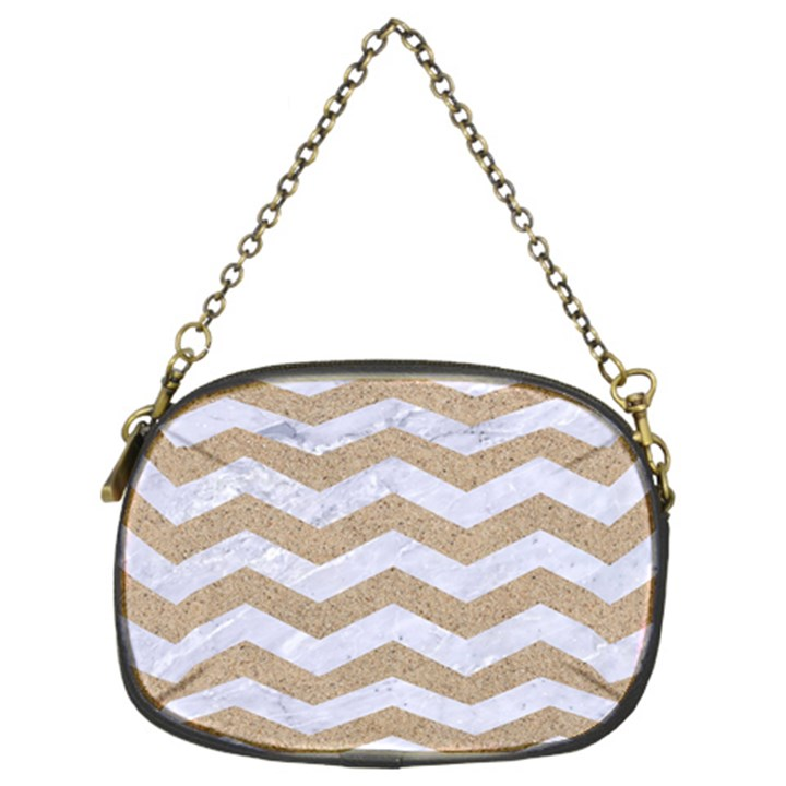 CHEVRON3 WHITE MARBLE & SAND Chain Purses (Two Sides)