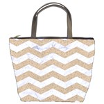 CHEVRON3 WHITE MARBLE & SAND Bucket Bags Front