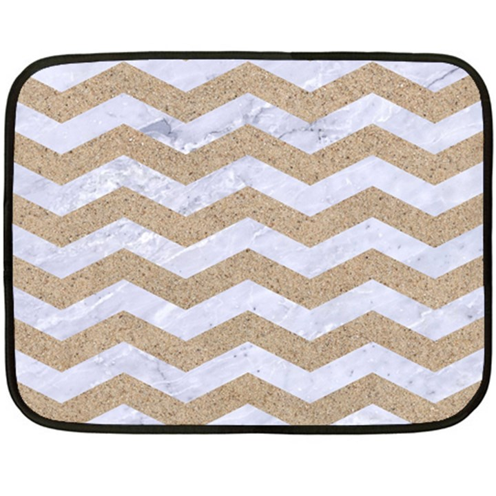 CHEVRON3 WHITE MARBLE & SAND Double Sided Fleece Blanket (Mini)