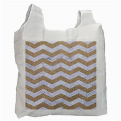 Chevron3 White Marble & Sand Recycle Bag (one Side)