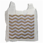 CHEVRON3 WHITE MARBLE & SAND Recycle Bag (One Side) Front