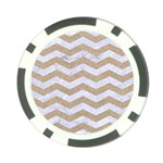 CHEVRON3 WHITE MARBLE & SAND Poker Chip Card Guard (10 pack) Front