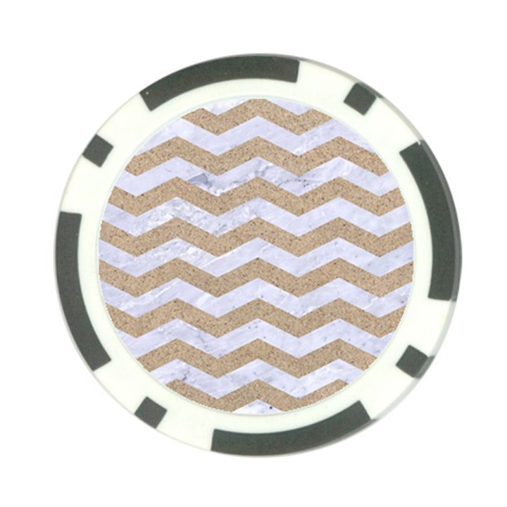 CHEVRON3 WHITE MARBLE & SAND Poker Chip Card Guard (10 pack)