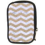 CHEVRON3 WHITE MARBLE & SAND Compact Camera Cases Front