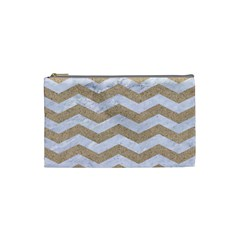 Chevron3 White Marble & Sand Cosmetic Bag (small)