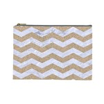 CHEVRON3 WHITE MARBLE & SAND Cosmetic Bag (Large)  Front