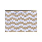 CHEVRON3 WHITE MARBLE & SAND Cosmetic Bag (Large)  Back