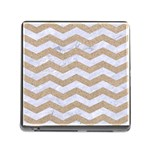 CHEVRON3 WHITE MARBLE & SAND Memory Card Reader (Square) Front