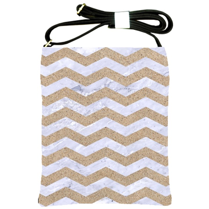 CHEVRON3 WHITE MARBLE & SAND Shoulder Sling Bags