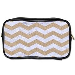 Chevron3 White Marble & Sand Toiletries Bags 2 Side