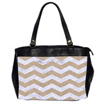 CHEVRON3 WHITE MARBLE & SAND Office Handbags (2 Sides)  Front