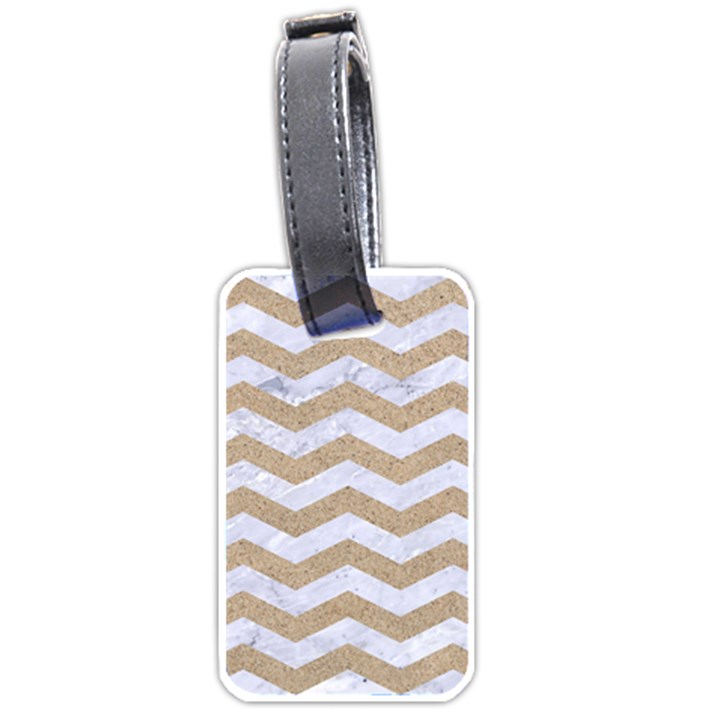 CHEVRON3 WHITE MARBLE & SAND Luggage Tags (Two Sides)