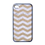 CHEVRON3 WHITE MARBLE & SAND Apple iPhone 4 Case (Black) Front
