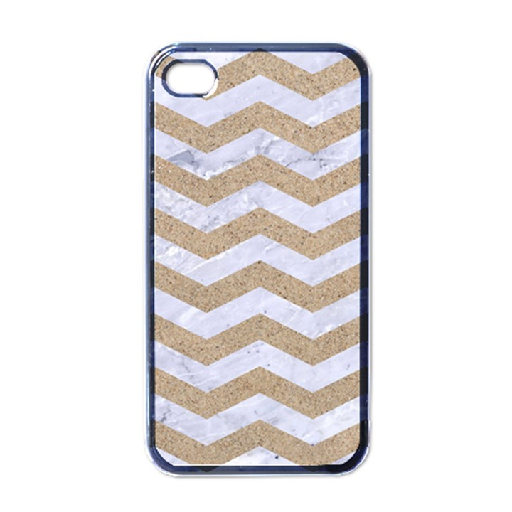 CHEVRON3 WHITE MARBLE & SAND Apple iPhone 4 Case (Black)