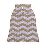 CHEVRON3 WHITE MARBLE & SAND Bell Ornament (Two Sides) Front