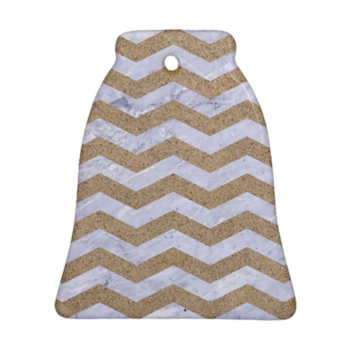 CHEVRON3 WHITE MARBLE & SAND Bell Ornament (Two Sides)
