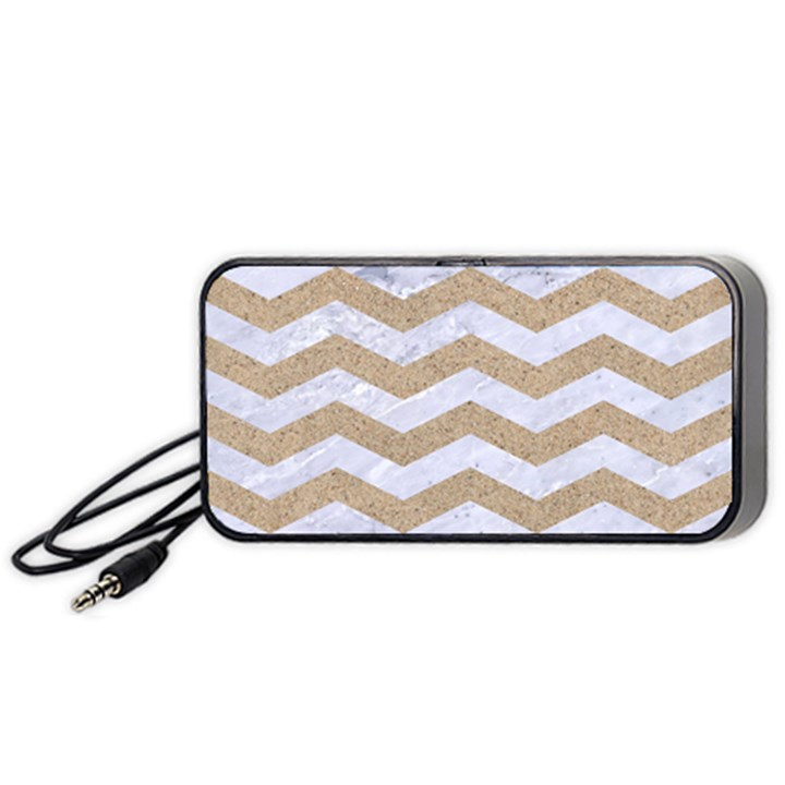 CHEVRON3 WHITE MARBLE & SAND Portable Speaker
