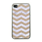 CHEVRON3 WHITE MARBLE & SAND Apple iPhone 4 Case (Clear) Front