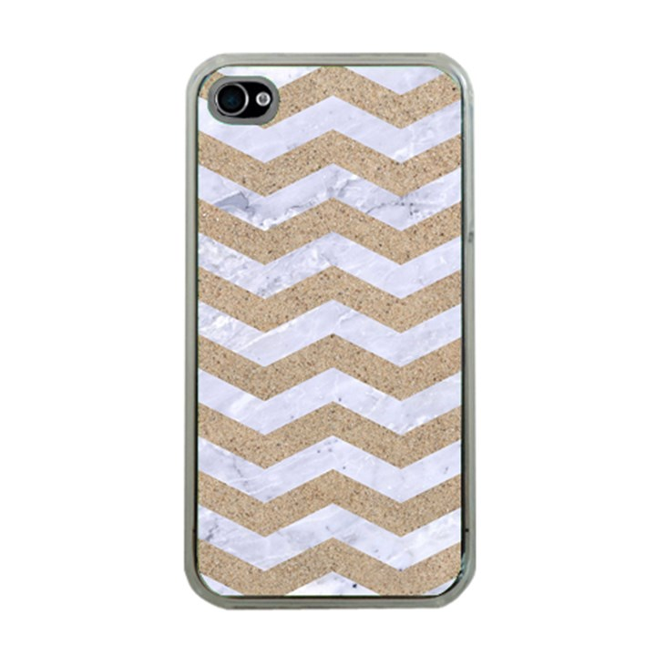CHEVRON3 WHITE MARBLE & SAND Apple iPhone 4 Case (Clear)