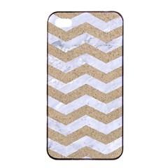 Chevron3 White Marble & Sand Apple Iphone 4/4s Seamless Case (black)